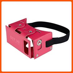 DAISEN 2016 Best New Waterproof PU leather DIY 3D VR Box Google Virtual Reality Headset Glasses Cardboard Movie Game for Smartphones with Headband (Pink) - Toys for big kids (*Amazon Partner-Link)