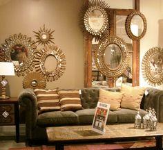 Collage Of Sparkling Gold Sunburst Mirrors