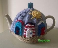 Ravelry: Sunny Seaside Tea Cosy pattern by Patricia Evans Loom Knitting, Knitting Patterns, Tea Cosy Pattern, Knitted Tea Cosies, Crochet Geek, Form Crochet, Mug Cozy, Sheep Wool, Chain Stitch
