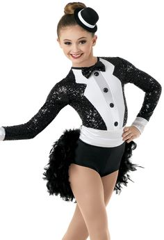 Long-Sleeve Faux Jacket w/ Boa Bustle Pop Star Costumes, Team Costumes, Jazz Costumes, Ballet Costumes, Faux Jacket, Dance Dreams, Cheerleader Costume, Dance Outfits, Dance Wear