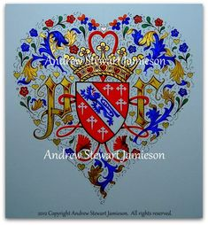 Coats of Arms, Heraldry, Heraldic Art & Illuminated Manuscripts:  'Jamieson Medieval Heart' designed and painted by English Artist Andrew Stewart Jamieson on December 14 - 15, 2012.