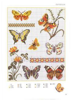 0 point de croix grille et couleurs de fils plusieurs différents papillons, butterflies