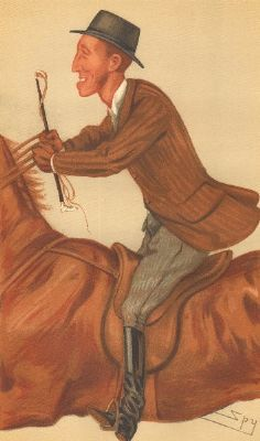 VANITY FAIR SPY CARTOON. James Lowther 'Jim'. Riding a horse. By Spy. 1877
