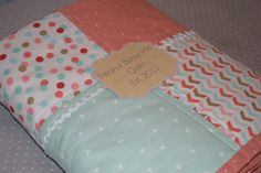 Baby Girl Modern Coral Mint and Gold by PeanutButterPieGifts
