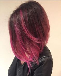 Pretty pink lob. Look by Jennifer. #pinkhairdontcare