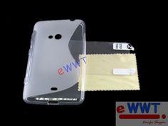 Clear Mixed TPU x Silicone Soft Back Cover Case+Film for Nokia Lumia 625 DQSA988