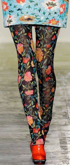 floral tights with floral dress