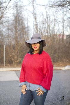 What I'm Wearing: Big Hats -  Urban Outfitters Fedora, Free People Off-The-Shoulder Oversized Sweater, Forever 21 Chambray Shirt, TWO by Vince Camuto High-Waist Skinny Jeans, Slouchy Suede Boots, MAC Russian Red lipstick