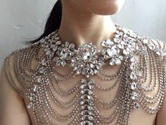 Love Olivia Swarovski rhinestones crystals and pearls wedding bridal shoulder necklace, bridal jewelry, rhinestones necklace, victorian neck Bridal Necklace, Rhinestone Necklace, Crystal Necklace, Crystal Rhinestone, Necklace Set, Wedding Jewelry, Rhinestone Dress, Shoulder Jewelry, Shoulder Necklace