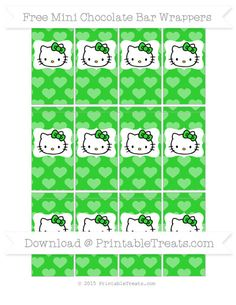 Free Lime Green Heart Pattern Hello Kitty Mini Chocolate Bar Wrappers