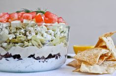 7 layer greek dip: great alternate to the typical taco style dip