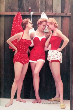 Red and white swim suits, c. 1950's.