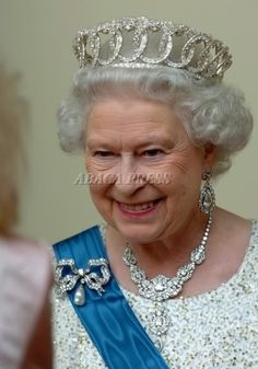 "Grand Duchess Vladimir Tiara, worn ""empty"", the Nizam of Hyderabad Necklace and The Kensington Brooch worn by HM Queen Elizabeth II"
