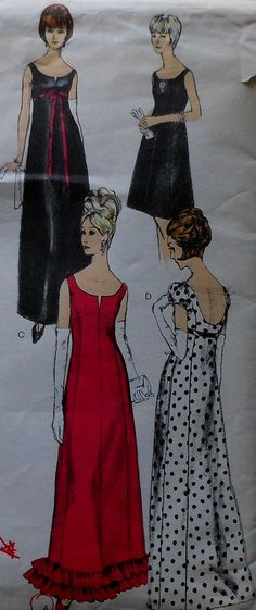 Vintage 60's Vogue Formal Gown Sewing Pattern