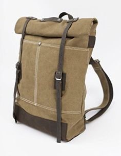 Bristlegrass Bikers' Leather Canvas Backpack (Gray)