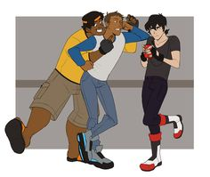 """pfaerie: """" """" (22:34) HELP. CUTE BOY FLIRTING WITH ME. (22:37) So flirt back? (22:38) SHIRO IM SERIOUS. HELP ME. HE HAS A WINGMAN. """" Hunk's idea of helping is to just point at Lance's flawless face as smile. """""""