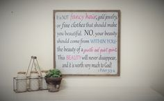 """1 Peter 3 Wooden Sign Girls Room Daughters Room Wood Distressed Sign Scripture Sign 24"""" x 24"""". 1 Peter 3 3-4 Girls Sign-------- SIGN SIZE: 25.5"""" x 25.5""""------- BACKGROUND & LETTERING: White & Black/Lt Pink/Duck Blue ----------- Frame: Gray Stained Pine ----- PLEASE READ ALL INFORMATION BELOW: We ship all of our signs USPS Priority Mail, unless it is too large, in which case we will ship it UPS. All of our Framed Signs hang from a wire hanger. All of our Pallet and Frameless Signs hang from…"""