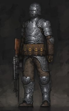 """mittensmcgee: """" regular-lesbian: """" regular-lesbian: """" regular-lesbian: """" regular-lesbian: """"the lack of Gun Knights in fantasy settings is deeply upsetting """" jackie found me a cool musket knight by... Fantasy Armor, Medieval Fantasy, Punk Art, Sci Fi Characters, Cyberpunk, Character Art, Character Concept, Steampunk, Twilight Princess"""