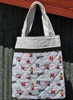 White Nebraska Huskers Tote Bag by PolkaDotPouches on Etsy, $25.00 Small Tote Bags, Nebraska, Reusable Tote Bags, Pouches, Polka Dot, Etsy, Color, Colour, Polka Dots