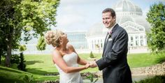 Spontaneous fun wedding photo at Como Conservatory.