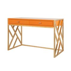 Worlds Away Cordelia Orange Lacquer Desk with Gold Leaf Lattice Base