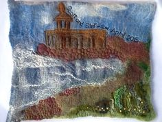 Commission for the wedding of our friends daughter, church on Rutland Water....I created the picture using merino wool with detail added by machine embroidery and applied threads