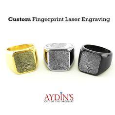 Signet Ring  Custom Signet Ring  Fingerprint Ring  Laser