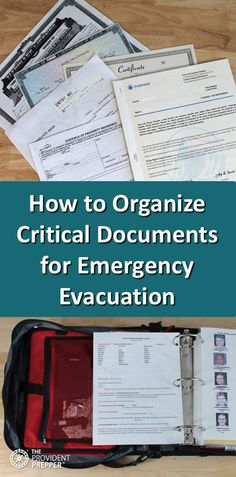 How to Organize Critical Documents for Emergency Evacuation It can be challenging to put your life back together again after a hurricane, flood, earthquake, wildfire or other disasters. Family members often struggle to… Emergency Preparedness Binder, Family Emergency Binder, Emergency Preparation, Emergency Supplies, In Case Of Emergency, Disaster Preparedness, Emergency Planning, Emergency Kits, Hurricane Preparedness Kit