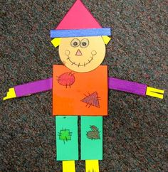 geometry scarecrow: ask: Can you count all the squares? How about the triangles? If you added the rectangles and the circles together, how many would you have? Can you find another scarecrow that has the same amount of squares as yours?