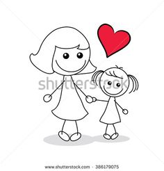 Find Mother Child Red Heart Shape stock images in HD and millions of other royalty-free stock photos, illustrations and vectors in the Shutterstock collection. Mothers Day Cartoon, Mothers Day Drawings, Doodle Drawings, Doodle Art, Easy Drawings, Cartoon Icons, Cartoon Drawings, Drawing For Kids, Art For Kids