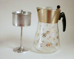 Glass Coffee Pot Mid Century Atomic David by SentimentalFavorites