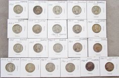 90% Silver lot of 21 Washington Quarters 1935-1960  Ungraded some s & d series #silvercoins #coincollector #quarters