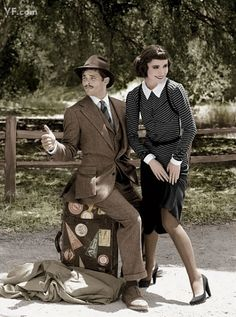 """James Marsden and Rose Byrne pose like Clarke Gable and Claudette Colbert in """"It Happened One Night."""" (This would be a fun Halloween costume idea!)"""