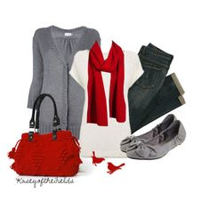 """""""Grey and Red"""" by kaseyofthefields ❤ liked on Polyvore featuring Moncler, Madewell and CL by Chinese Laundry"""