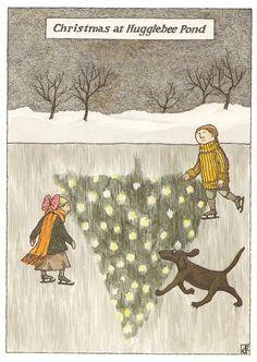 Christmas at Hugglebee Pond by #Edward Gorey