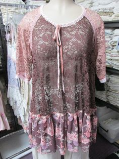 Vintage Kitty.. FRENCH MARKET Tunic. vintage antique roses.. corded stretch lace, pink and chocolate,  ooak. shabby chic, oversize.. XL