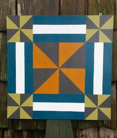Virginia Reel - 2' x 2' Barn Quilt Square handpainted on wood