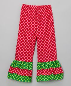 Take a look at this Berry Polka Dot Triple Ruffle Pants - Toddler & Girls on zulily today!