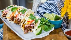 Countdown to Summer and enjoy BBQ Brisket Tacos with Sunshine Slaw and your favorite cool beverage! Tune in to Home & Family weekdays for more recipes for your whole family! Brisket Tacos, Smoked Brisket, Brisket Meat, Smoked Beef, Smoked Ribs, Beef Tenderloin, Roast Beef, Crockpot Recipes, Cooking Recipes