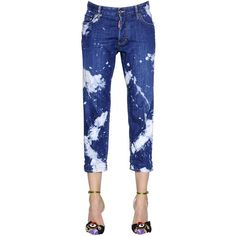 Dsquared2 Women Tie & Dye Tomboy Cotton Denim Jeans ($460) ❤ liked on Polyvore featuring jeans, blue, bleached jeans, bleached ripped jeans, torn jeans, ripped jeans and summer jeans