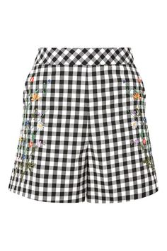 TALL Embroidered Gingham Shorts