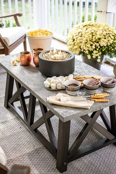 DIY Outdoor Movie Screen and DIY S'mores Table on Fall Back Porch Up The Movie, Outdoor Movie Screen, Popcorn Bowl, Outdoor Retreat, Outdoor Spaces, Fire Bowls, Al Fresco Dining, Decorating On A Budget, Porch