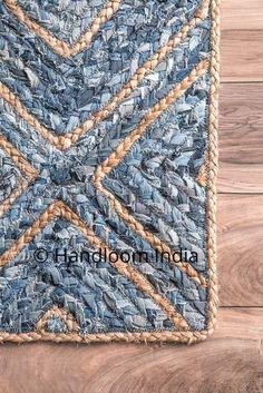 Braided Denim Rugs Runner Living Room Solid Area Carpet Indian Jute Rugs – Area Rugs in bedroom Carpet Diy, Rugs On Carpet, Carpet Decor, Cheap Carpet, Green Carpet, Carpet Ideas, Modern Carpet, Denim Rug, Braided Rag Rugs