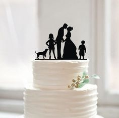 Wedding Cake Topper With DogSilhouette Cake by Muggses on Etsy
