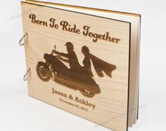 Motorcycle Love Wood Wedding Guest Book Custom Wedding Guest Book Present Anniversary Gift Bridal Shower Book Photo Album Advice Book