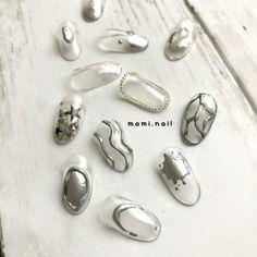 夏/チェーン/ニュアンス/ホイル/グレー - ❁︎ mami ❁︎のネイルデザイン[No.3341013]|ネイルブック Summer Acrylic Nails, Summer Nails, Luv Nails, Japan Nail, Nail Techniques, Nail Design Video, Japanese Nails, Daily Nail, Nail Stamping
