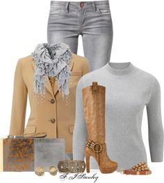 """""""Camel & Grey"""" by fiona-stanley ❤ liked on Polyvore"""