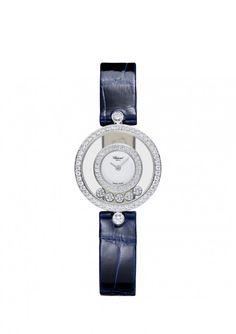 Chopard 'Happy Diamonds' Icons Watch -18 karat white gold & diamonds, navy blue leather band