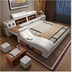 Home Accessories Decor Luxury - Modern luxury leather bed frames Led Lights Chan. - Home Accessories Decor Luxury – Modern luxury leather bed frames Led Lights Change Modes and Remo - Bedroom Bed Design, Bedroom Furniture Design, Bed Furniture, Bedroom Sets, Home Bedroom, Modern Bedroom, Bedroom Decor, Light Bedroom, Modern Beds