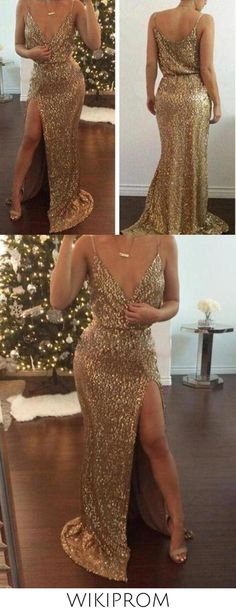 Sexy Mermaid Spaghetti Straps Slit Gold V Neck Sequins Long Sleeveless Prom Dresses WK50, This dress could be custom made, there are no extra cost to do custom size and color Cheap Mermaid Prom Dresses, Split Prom Dresses, Burgundy Homecoming Dresses, Best Prom Dresses, Prom Dresses Long With Sleeves, Black Prom Dresses, Prom Dresses Online, Special Occasion Dresses, Spaghetti Straps